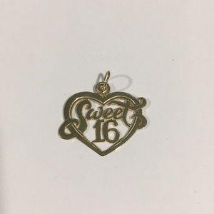 Jewelry - 14k Yellow Gold Sweet 16 Heart ❤️ Charm Pendant